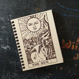 The Sun Tarot Card  Laser Etched Wooden Notebook